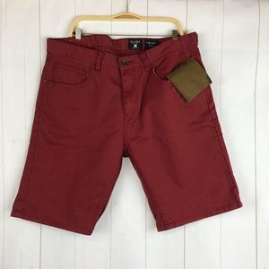 NWT Globe Red Slim Fit Denim Shorts Size 34